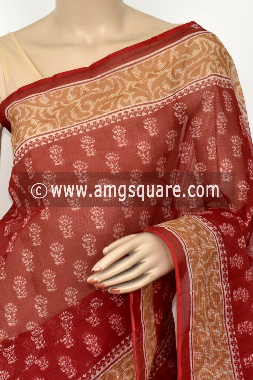 Maroon Premium JP Kota Doria Printed Cotton Saree (without Blouse) 15419