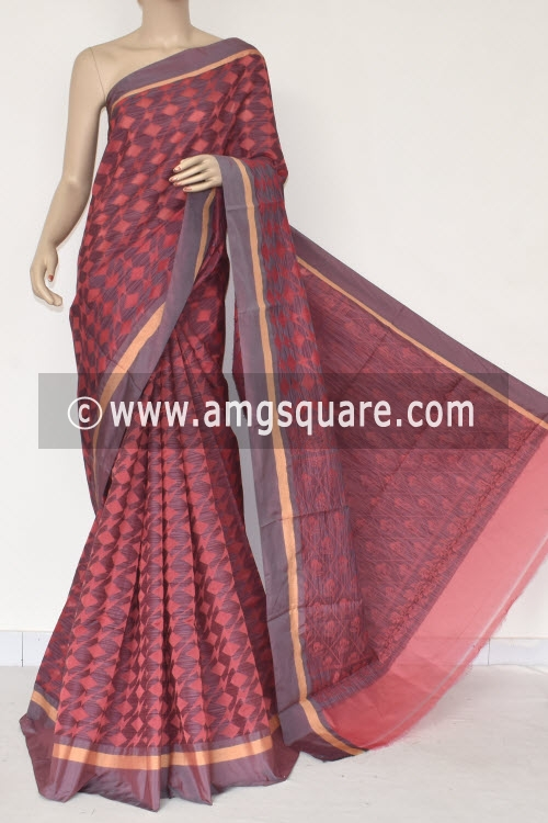 Light Orange Grey Handloom Banarasi Kora Saree (with Blouse) 16260