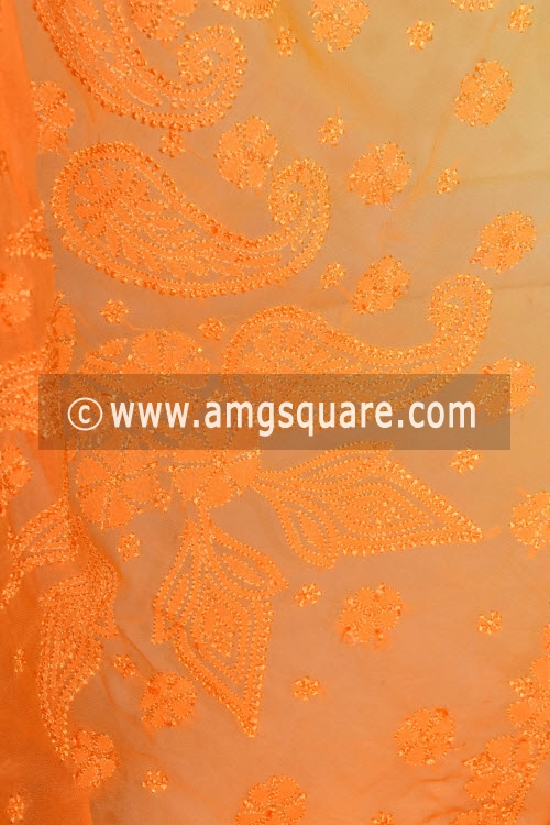 Golden Yellow Orange Shaded Hand Embroidered Lucknowi Chikankari Saree (With Blouse - Viscose) 14622