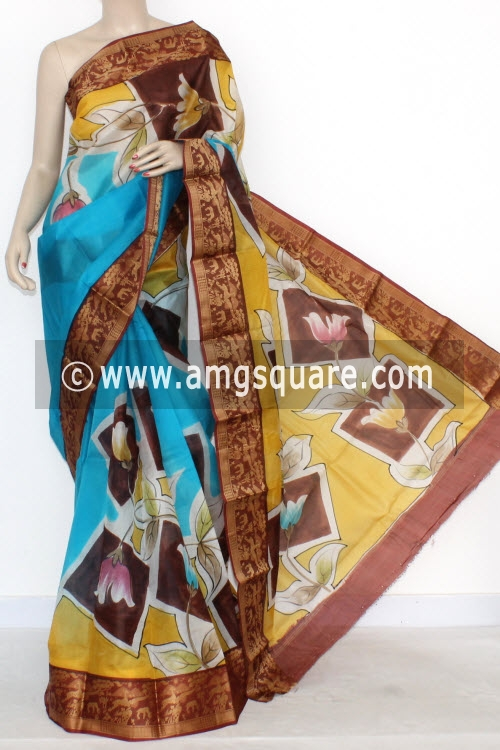 Pherozi Blue Designer Handprinted Bishnupuri Pure Silk Saree (With Blouse) Baluchari Border 16151