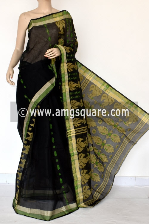 Black Handwoven Bengal Tant Cotton Saree (Without Blouse) 14083