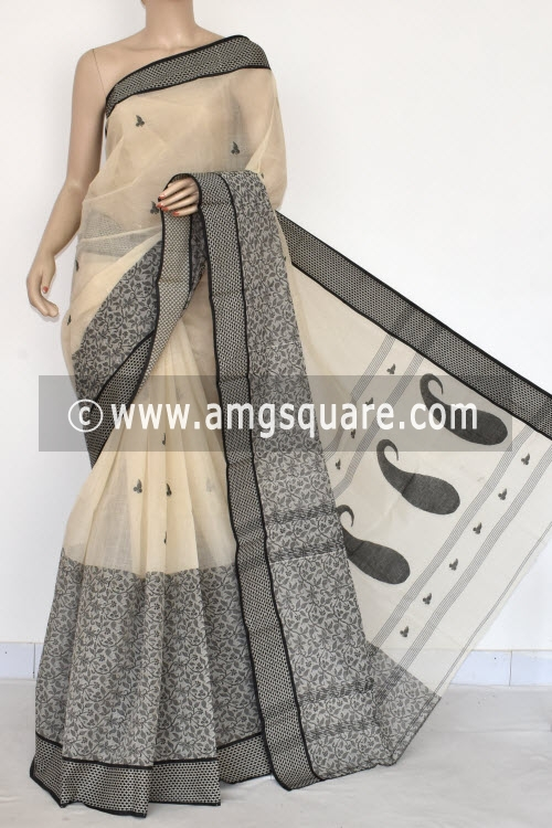 Off White Handwoven Bengal Tant Cotton Saree (Without Blouse) Resham Border 17100