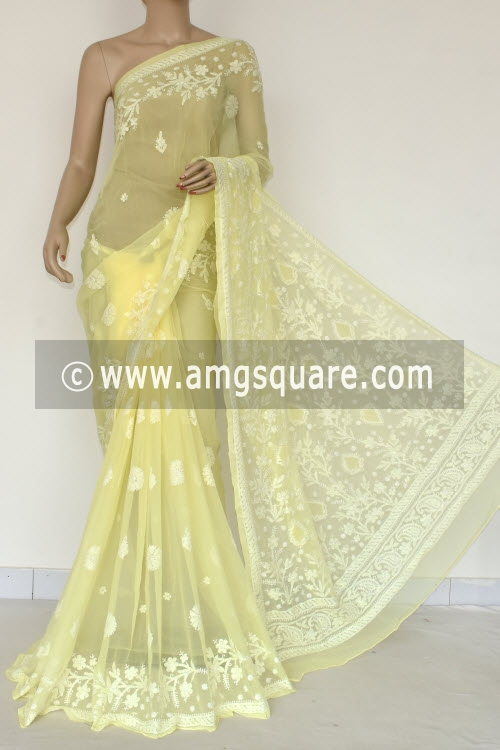 Lemon Yellow Hand Embroidered Lucknowi Chikankari Saree (With Blouse - Georgette) Rich Pallu 14657