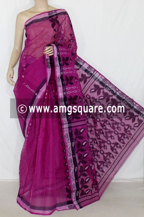 Purple Handwoven Bengali Tant Cotton Saree (Without Blouse) 14048