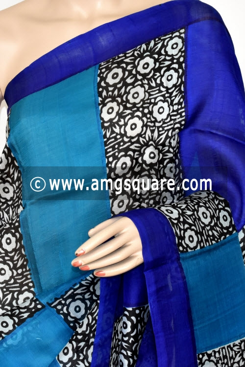 Royal Blue Pherozi Murshidabadi Pure Silk Saree (With Blouse) 17272