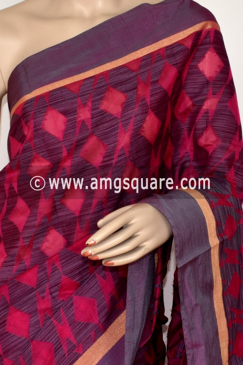 Pink Grey Handloom Banarasi Kora Saree (with Blouse) 16257