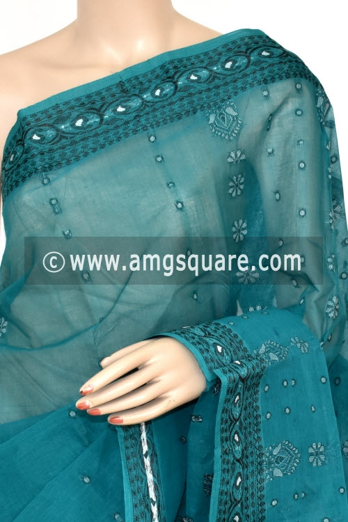 Sea Green Handwoven Bengal Tant Cotton Saree (Without Blouse) 17042