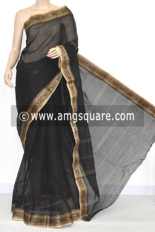 Black Handwoven Bengal Tant Cotton Saree (Without Blouse) Resham Border 17052