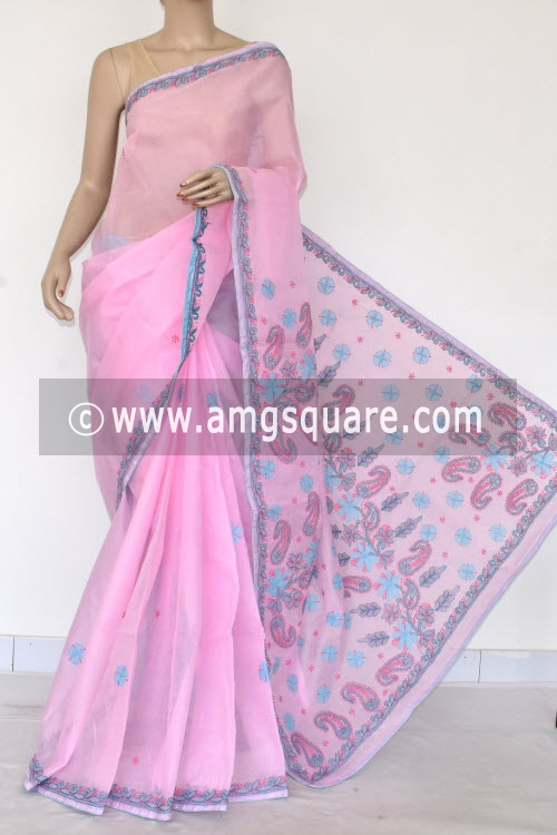Pink Applique Work Hand Embroidered Lucknowi Chikankari Saree (With Contrast Blouse - Cotton) 14729