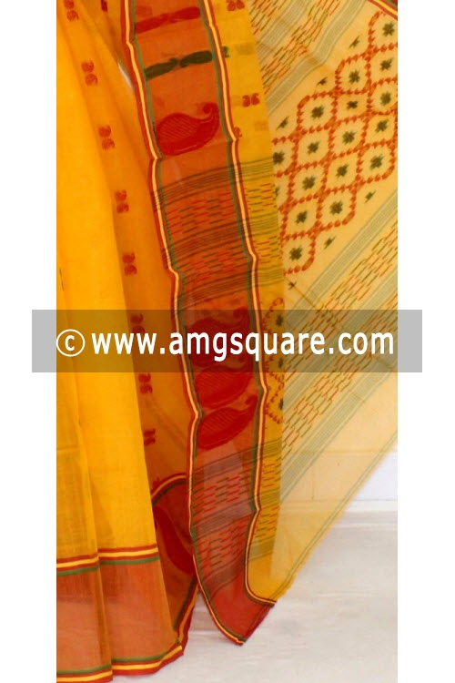 Golden Yellow Handwoven Bengal Tant Cotton Saree (Without Blouse) 14121