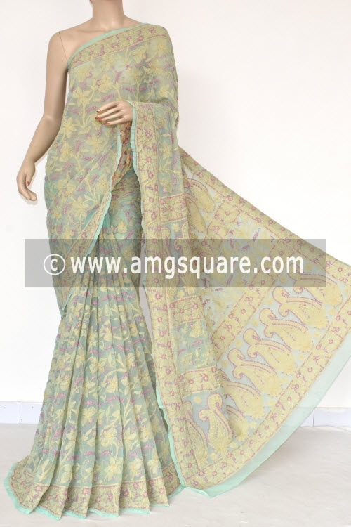Pista Green Allover Multi-color Hand Embroidered Lucknowi Chikankari Saree (With Blouse - Georgette) 14696