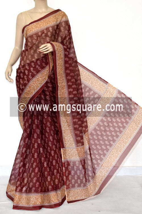 Dark Maroon Premium JP Kota Doria Printed Cotton Saree (without Blouse) 15421