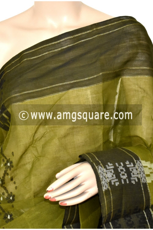 Menhdi Green Handwoven Bengal Tant Cotton Saree (Without Blouse) 17392