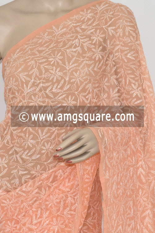 Peach Allover Tepchi Work Lucknowi Chikankari Saree (With Blouse - Georgette) 14827