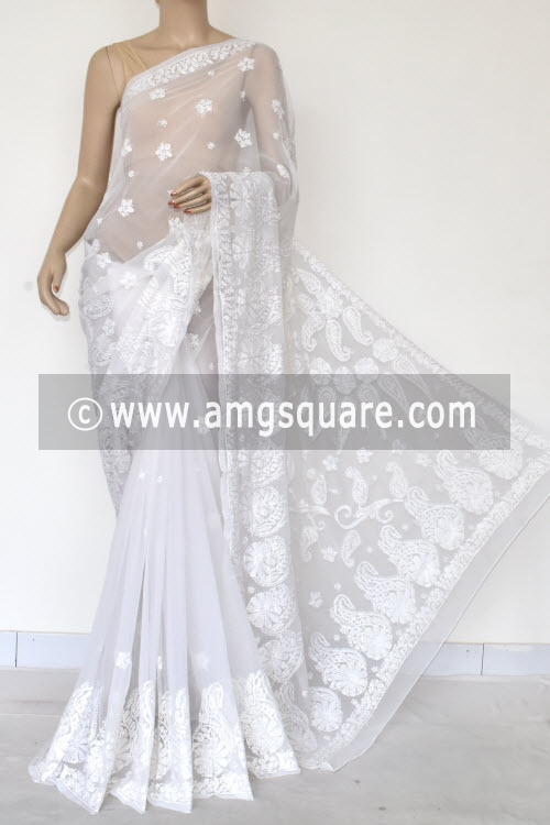 White Designer Hand Embroidered Lucknowi Chikankari Saree (With Blouse - Georgette) 14618