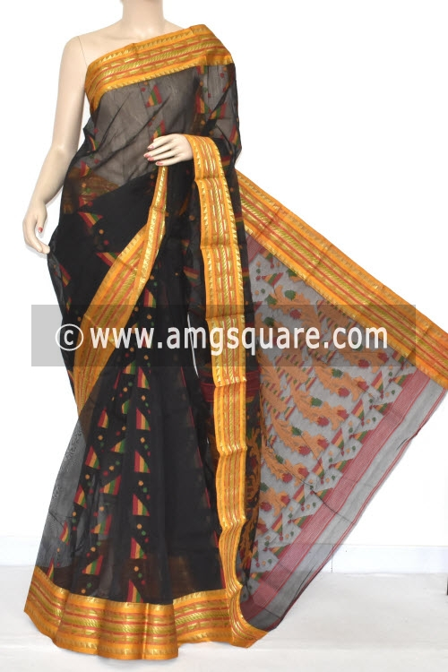 Black Handwoven Bengal Tant Cotton Saree (Without Blouse) 17349