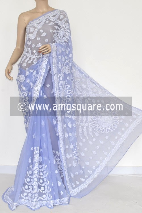 Blue Designer Hand Embroidered Lucknowi Chikankari Saree (With Blouse - Georgette) 14489