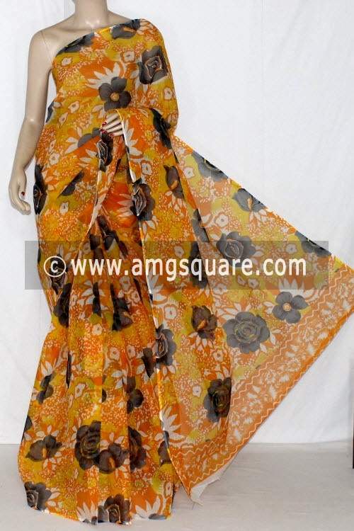 Golden Yellow Premium JP Kota Doria Printed Cotton Saree (without Blouse) 15232