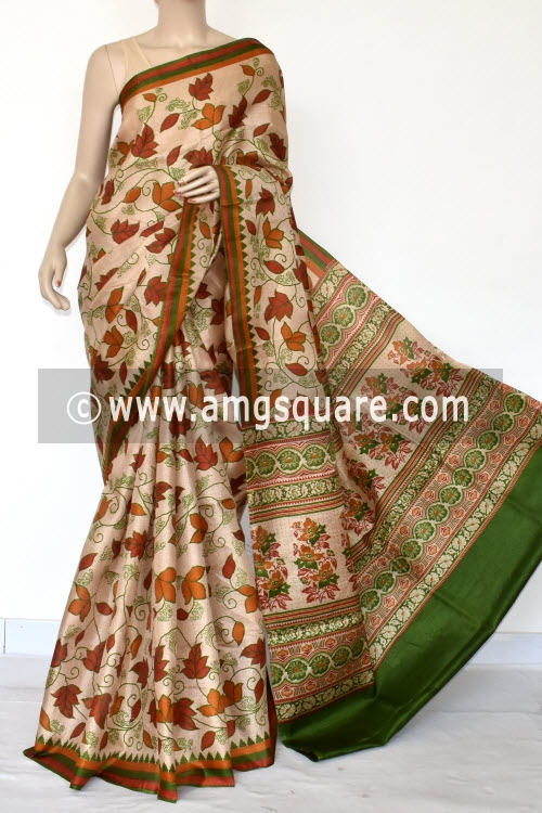Fawn Tusser Art Silk Printed Saree (With Blouse) 13449