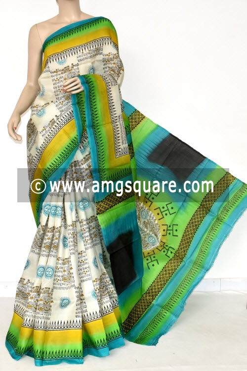 Off White Handloom Pure Silk Saree (With Blouse) 17273