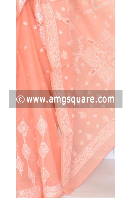 Peach Hand Embroidered Lucknowi Chikankari Saree (With Blouse - Cotton) 14674