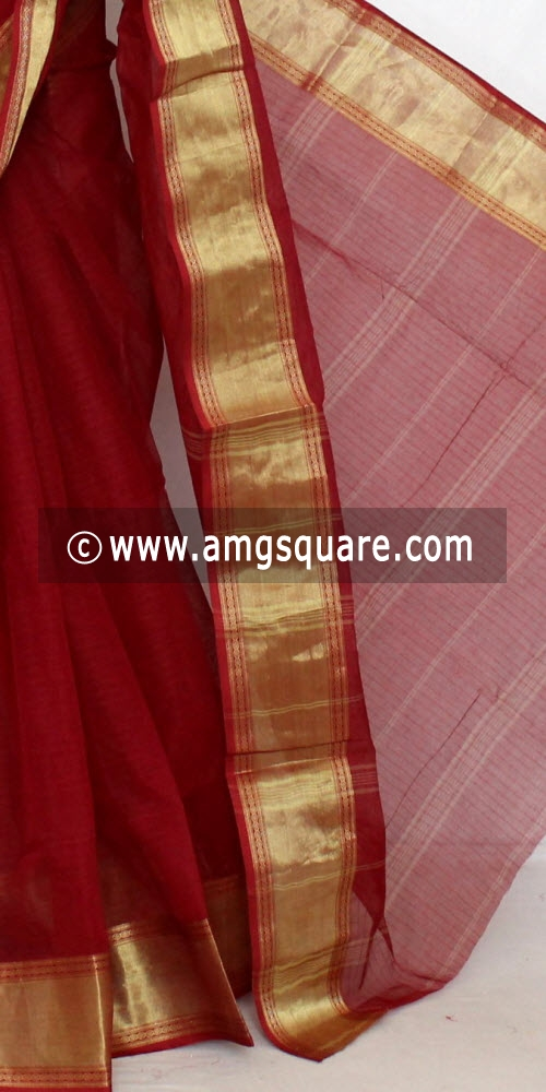 Maroon Handwoven Bengal Tant Cotton Saree (Without Blouse) 13856