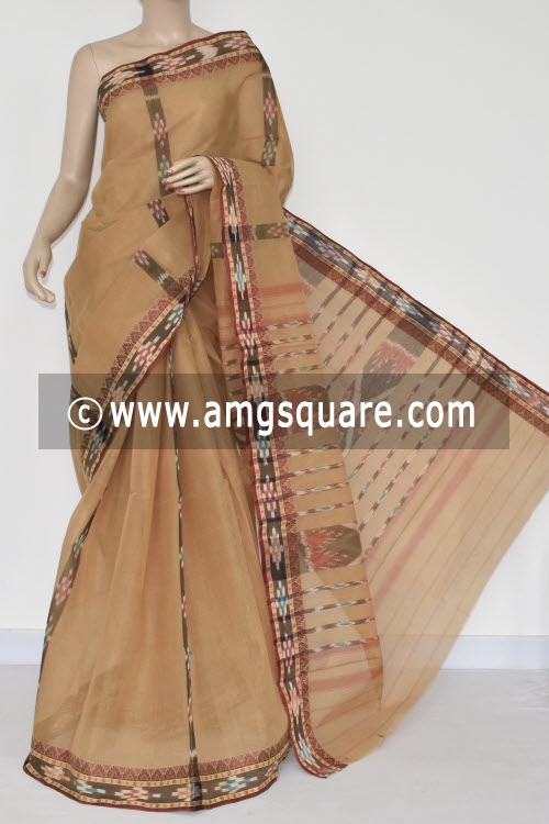 Fawn Pochampalli Handwoven Dhaniakhali Bengal Tant Cotton Saree (Without Blouse) 13947