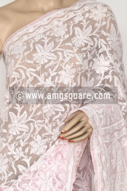 Baby Pink Allover Hand Embroidered Lucknowi Chikankari Saree (With Blouse - Georgette) 14843