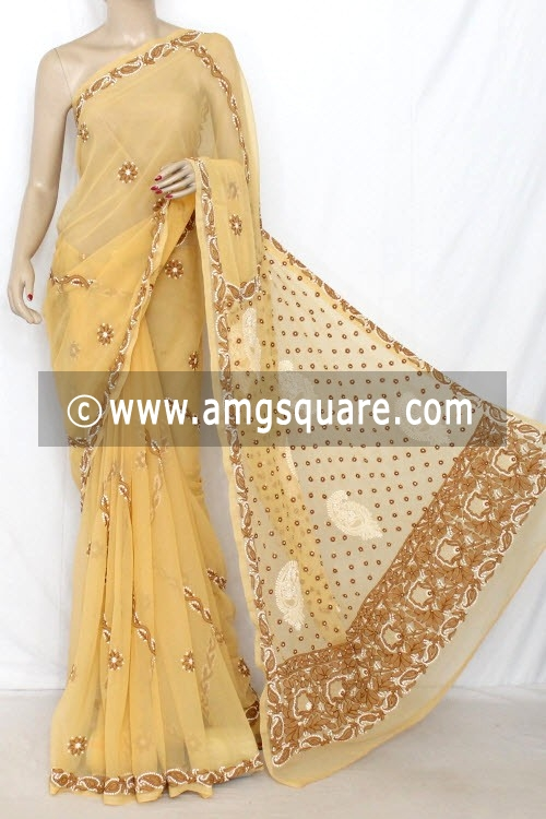 Beige Hand Embroidered Lucknowi Chikankari Saree (With Blouse - Georgette) 14311