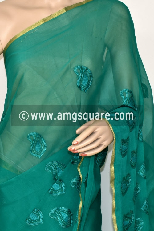 Green Handloom Semi-Chiffon Saree (with Blouse) Resham Embroidery 16185