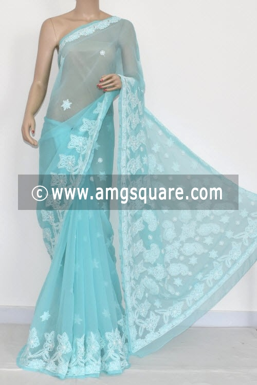 Sky Blue Hand Embroidered Lucknowi Chikankari Saree (With Blouse - Georgette) 14421
