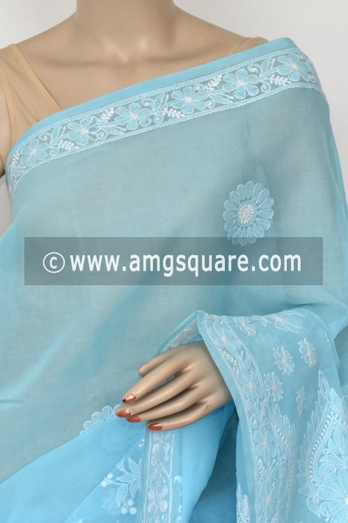 Sky Blue Hand Embroidered Lucknowi Chikankari Saree (With Blouse - Cotton)  Heavy Skirt and Rich Pallu 14754