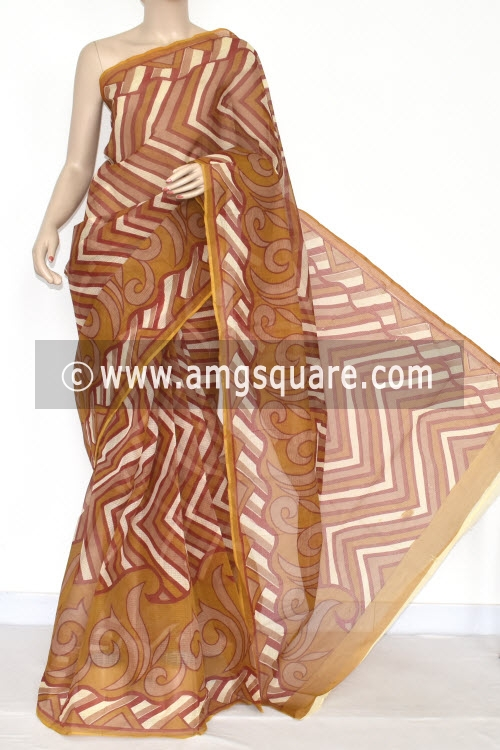Mustared Premium JP Kota Doria Printed Cotton Saree (without Blouse) 15342