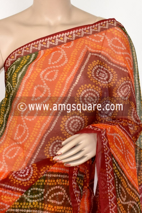 Multi-Color Premium JP Munga Kota Chunri Print Cotton Saree (without Blouse) 15402