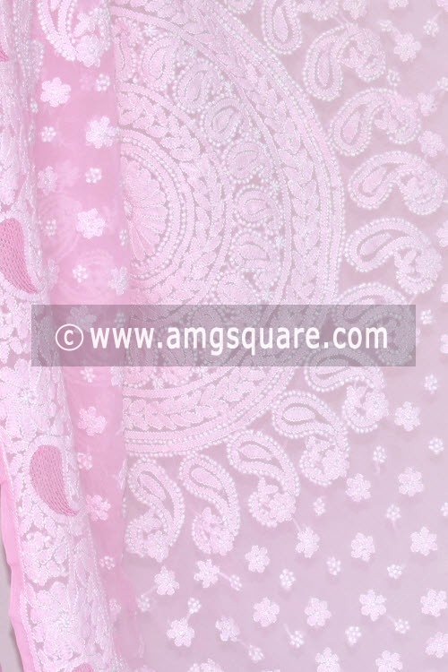Pink Designer Hand Embroidered Lucknowi Chikankari Saree (With Blouse - Georgette) 14459