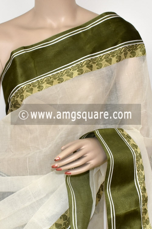 Off White Handwoven Bengali Tant Cotton Saree (Without Blouse) 17065