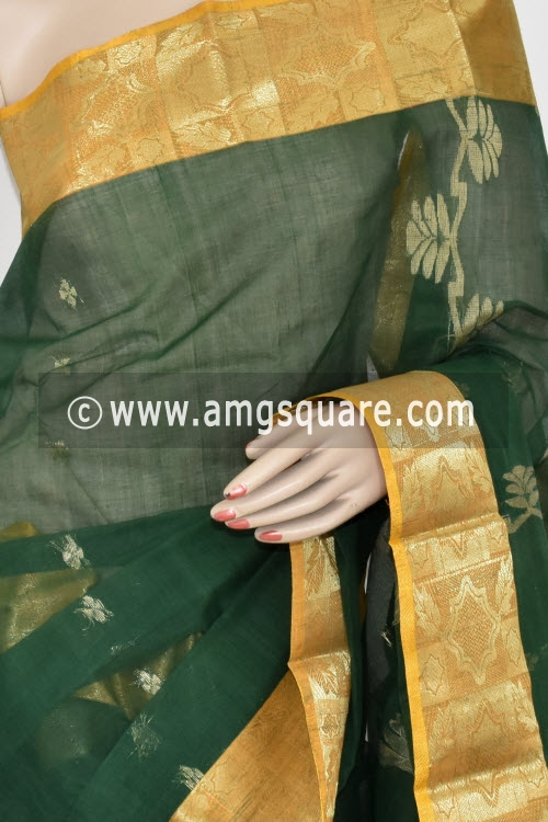 Green Handwoven Bengal Tant Cotton Saree (Without Blouse) Zari Border 17361