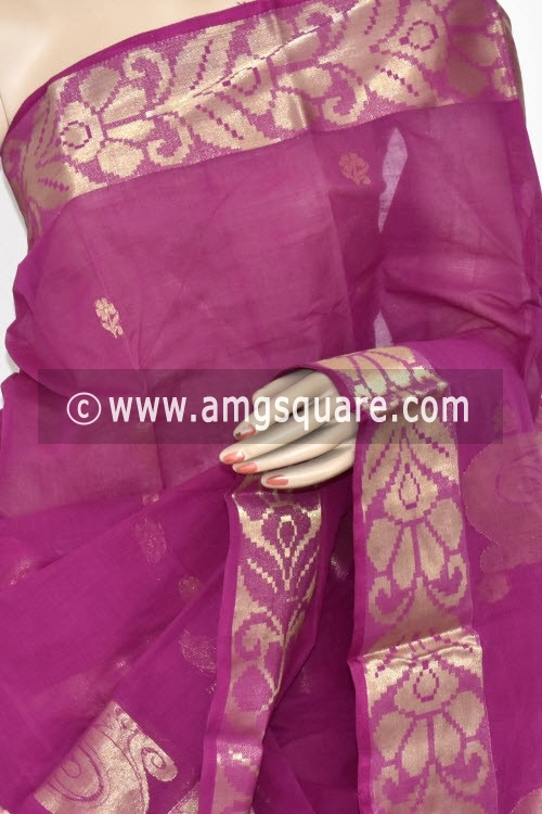 Magenta Handwoven Bengal Tant Cotton Saree (Without Blouse) Zari Border and Pallu 17244