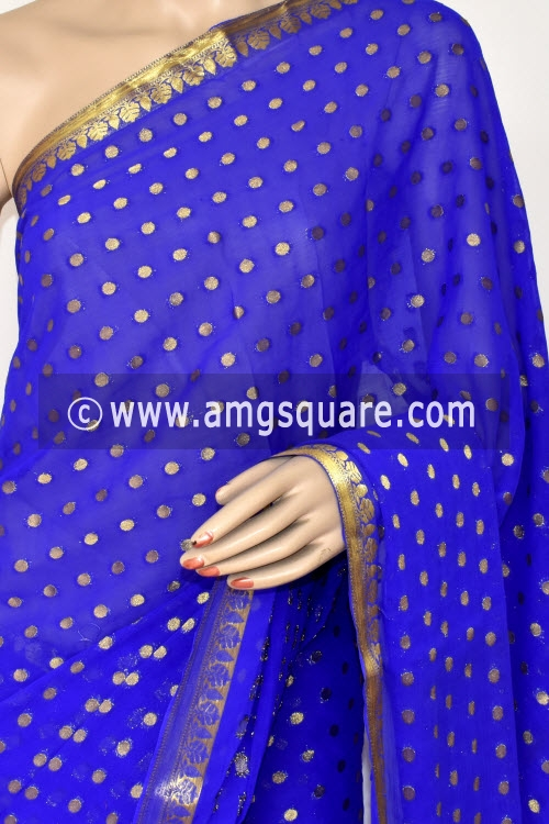 Royal Blue Handloom Semi-Chiffon Saree (with Blouse) Allover Zari Border and Booti 16203