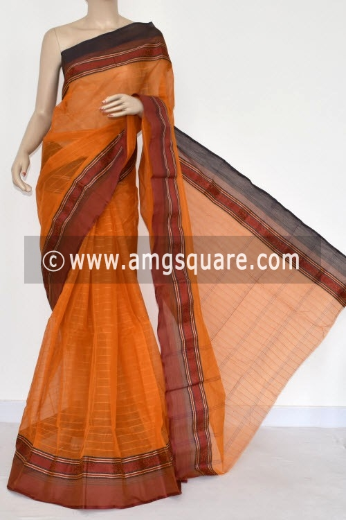 Mustared Yellow Handwoven Bengal Tant Cotton Saree (Without Blouse) 14263