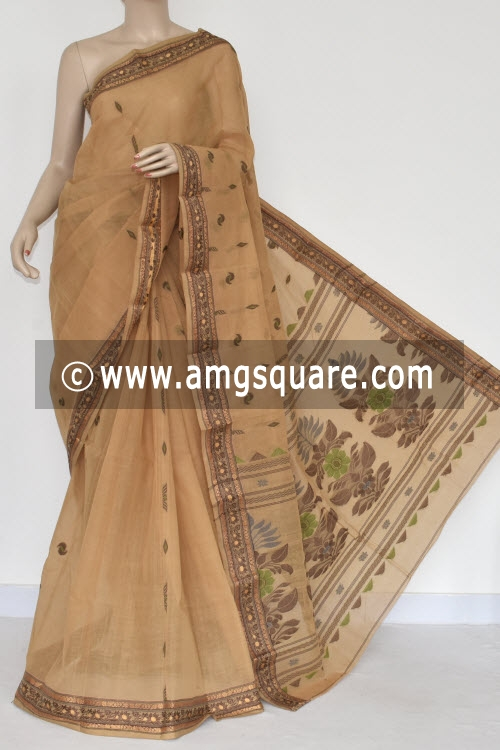 Fawn Resham Border Handwoven Bengal Tant Cotton Saree (Without Blouse) 17384