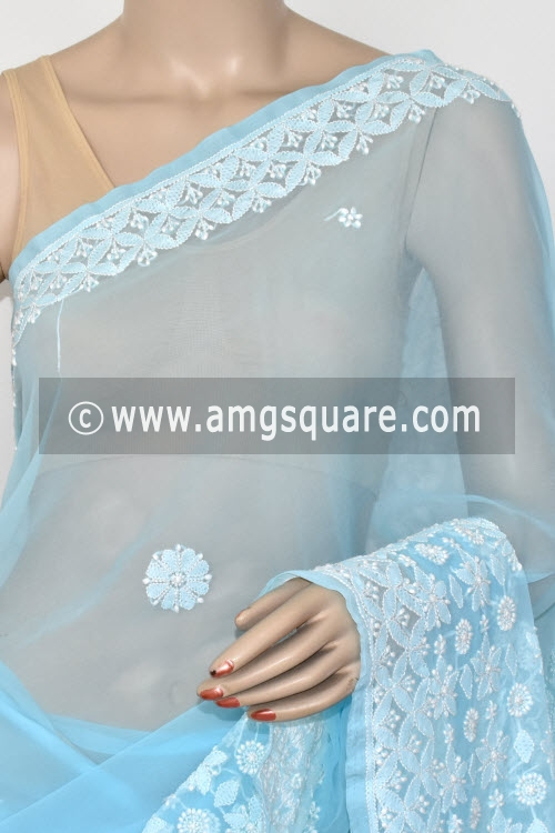 Sky Blue Designer Hand Embroidered Lucknowi Chikankari Saree (With Blouse - Georgette) 14598