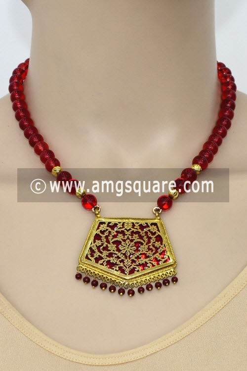 Maroon Traditional Thewa Pendant Set 11225