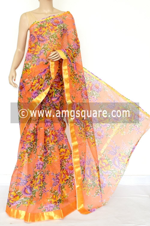 Peach JP Kota Doria Floral Printed Cotton Saree (without Blouse) Zari Border 13530