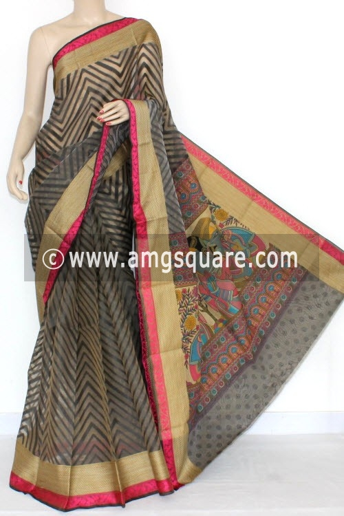 Black Fawn Banarasi Kora Cot-Silk Handloom Saree (With Blouse) 16107