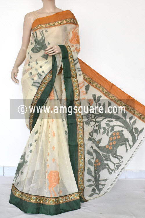 Off White Designer Handwoven Bengal Tant Cotton Saree (Without Blouse) Ganga Yamuna Border 17098