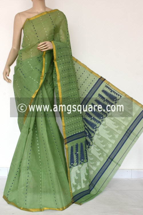 Pista Green Handwoven Thousand Booti Bengal Tant Cotton Saree (Without Blouse) 14032