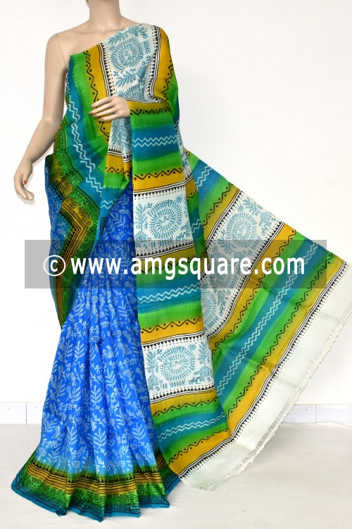 Pherozi Blue Handloom Pure Silk Saree (With Blouse) 17276
