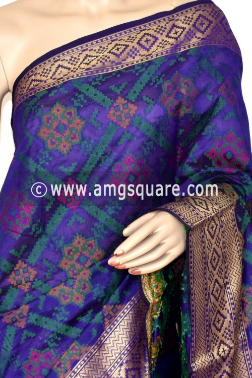 Purple Handloom Banarasi Kora Saree (with Blouse) Allover Resham Weaving 16238