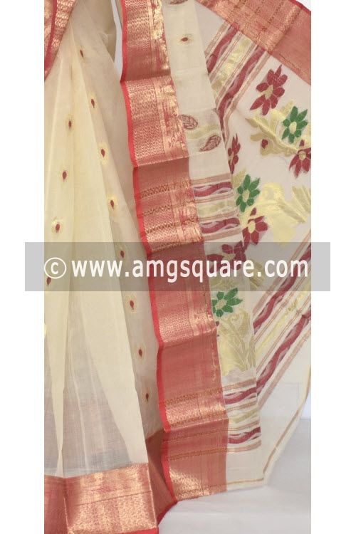 Beige Handwoven Bengal Tant Cotton Saree (Without Blouse) Zari Border 17355